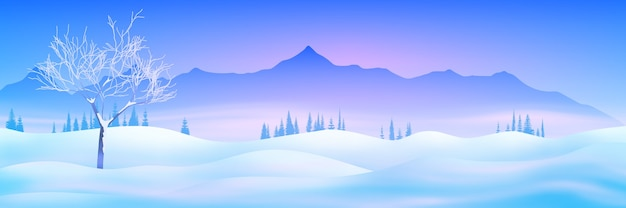 Winter mountain landscape with snowdrifts and sunset light