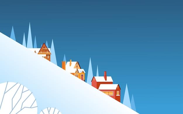 Winter mountain slope village landscape background