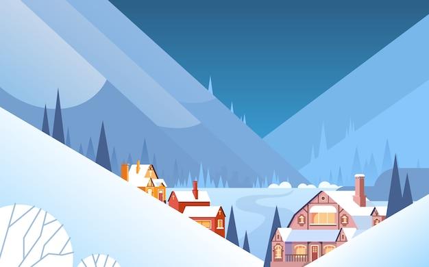 Winter mountain village landscape background