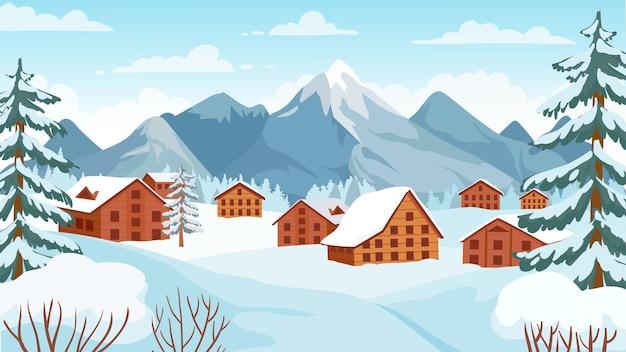 コテージのある冬の山。冬の休暇のための雪に覆われた高山のピークの家。スキーリゾートベクトルの漫画の風景。雪の高山の山のコテージ、冬の休日のイラスト
