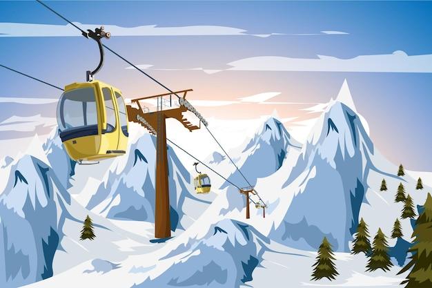 Зимние горы канатная дорога лыжный гондольный трамвай вектор праздник рождества