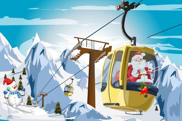 スキーリフトのクリスマスの時期にサンタクロースと冬の山のケーブルカー