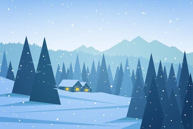 두 집, 소나무와 눈송이 겨울 산 풍경.