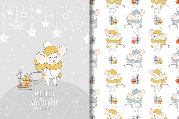 Winter mouse cartoon illustration. card and seamless pattern