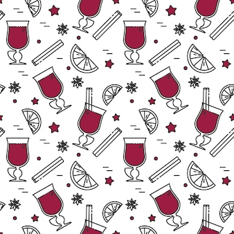 Winter mulled wine seamless pattern in line art.