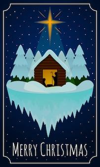 Winter nativity scene christmas card