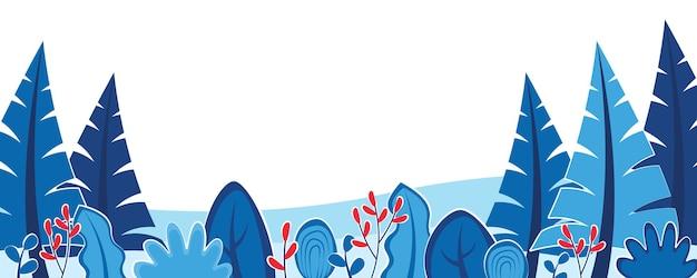 冬の自然の背景と風景パターンの概念常緑樹と水平ウェブバナー