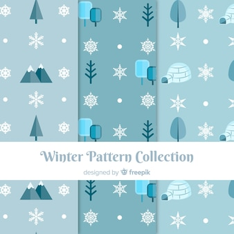 Winter nature elements pattern collection