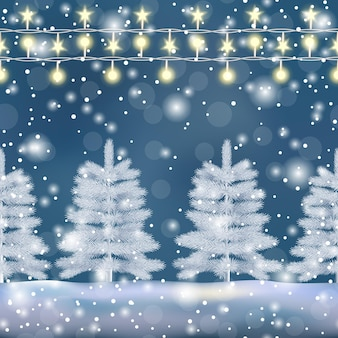 Зимняя природа вектор бесшовные граница с елочными огнями и эффектом боке