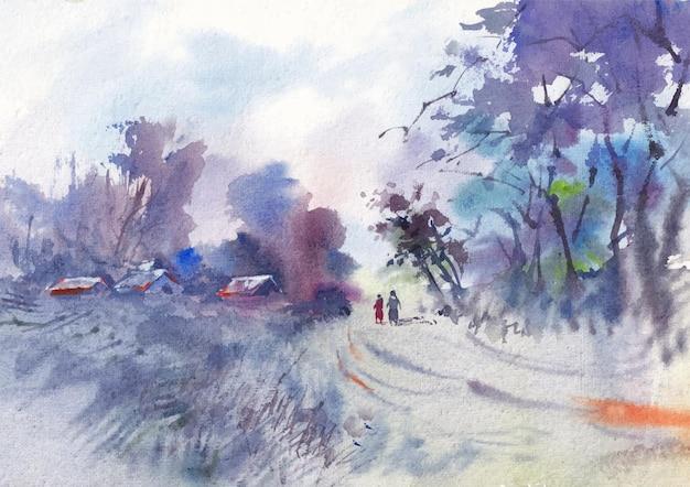 겨울 자연 수채화 풍경 예술과 손 그림