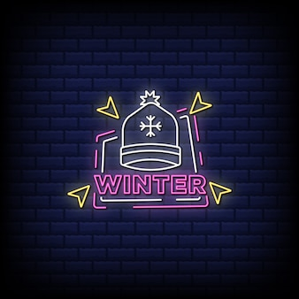 Winter neon signs style text