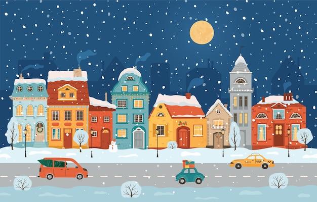 レトロなスタイルの冬の夜の街。クリスマスの背景。フラットなスタイルの居心地の良い街。