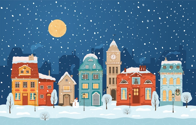 Зимний ночной город в стиле ретро. новогодний фон с домами, луной, снеговиком. уютный городок в плоском стиле. мультфильм .