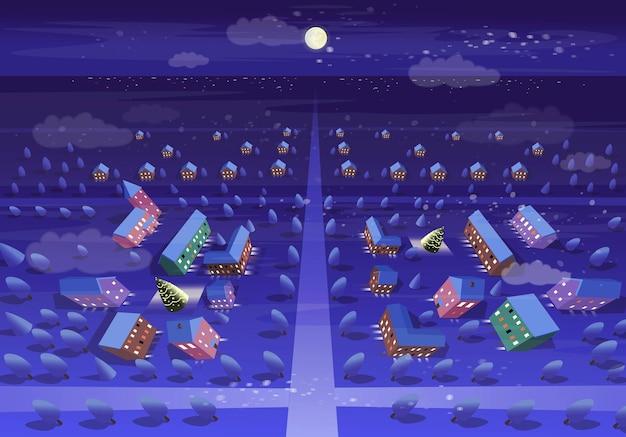 冬の夜の街の上面図。漫画のスタイルでベクトルイラスト。