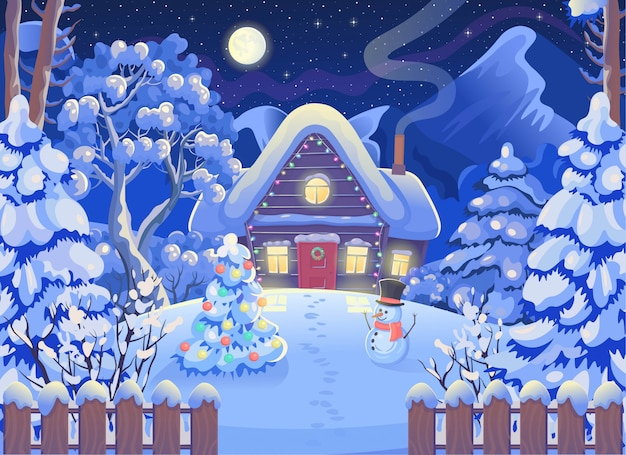 木造住宅、山、月と星空、雪だるま、クリスマスツリーと冬の夜の森の風景。ベクトル漫画のスタイルのイラストを描きます。クリスマスカード。