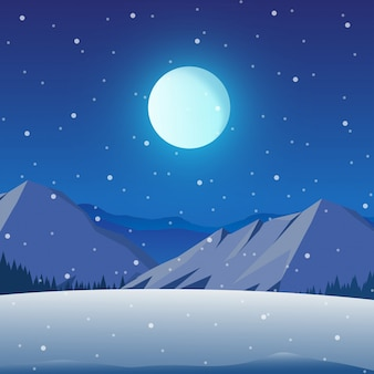 Winter night landscape with mountain, forest, and full moon