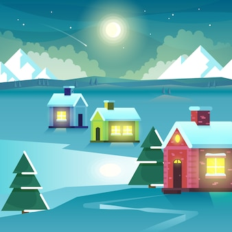Winter night mountains and houses. outdoor ice hill travel, moonlight settlement or village, peak and moon. vector illustration