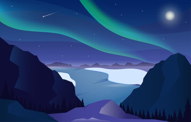 Winter night mountains with aurora peak and moon illustration free vector
