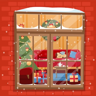 Winter night scene of window with christmas tree, furniture, wreath, pile of gifts and pets.
