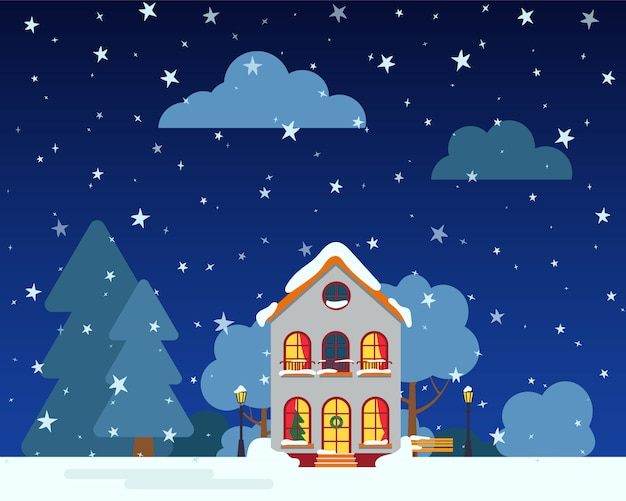 Winter night street with house, snow trees, bush clouds, flat cartoon card. merry christmas and happy new year holiday banner. suburban landscape