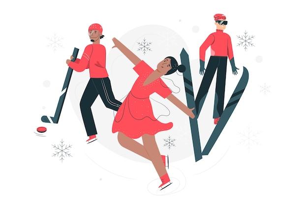 Иллюстрация концепции зимних олимпийских игр
