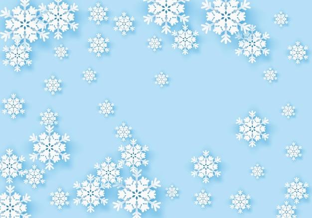 파란색 배경 겨울 눈 조각 프레임 패턴으로 겨울 종이 접기 눈송이 인사말 배너