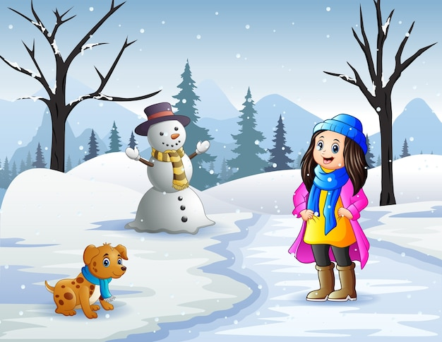 Зимние мероприятия на свежем воздухе с девушкой и домашними животными