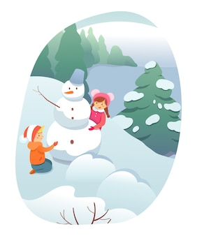 Winter outdoor recreation, children cartoon characters building snowman, playing in snow.