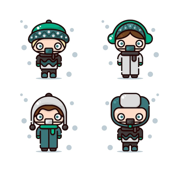 Иллюстрация зимнего наряда, включая шапку-бини, наушники, лыжную шапку и ушанку.