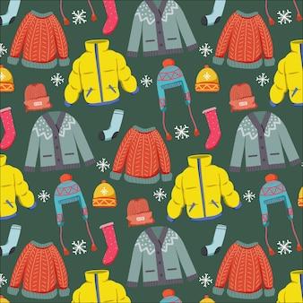 冬の服のパターンのシームレスな落書き