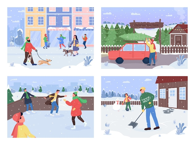 Набор плоских цветных иллюстраций зимней деятельности на открытом воздухе