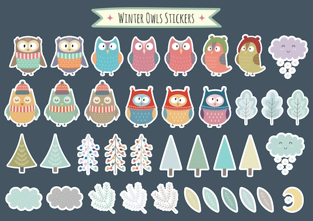 Winter owls stickers collection. christmas decorative elements, trees, brunches, leaves. vector illustration