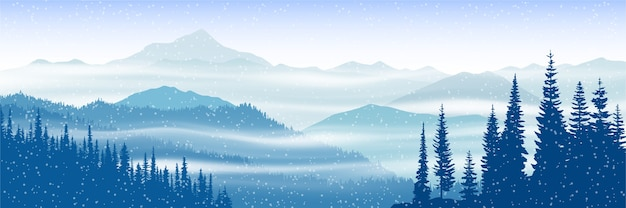 Winter panoramic view of the mountains with fog