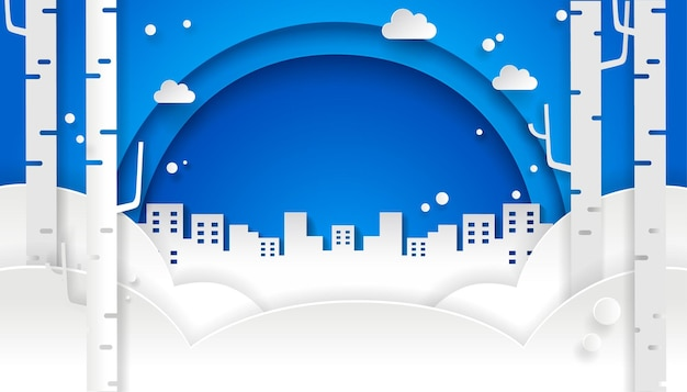 青い空と街の冬のペーパーアートデザイン。雪の背景。