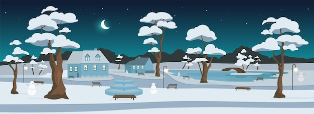 밤 평면 색상의 겨울 공원. 도시 휴양지. 마을 광장. 야외 휴식. 눈 덮인 거리와 배경에 나무와 초승달이있는 2d 만화 풍경 주택