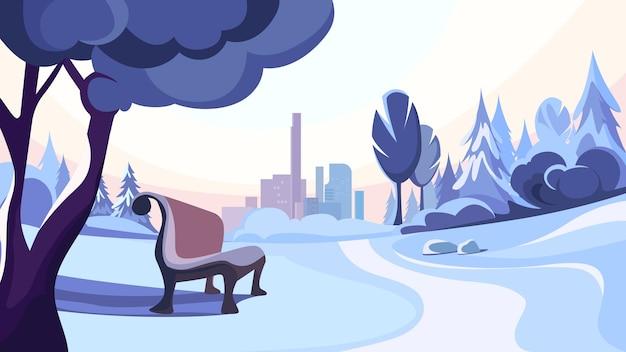 Winter park on background of city. beautiful nature landscape.