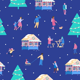 겨울 공원 크리스마스 박람회 원활한 패턴 공원 공원 카페 크리스마스 트리에서 작은 사람들