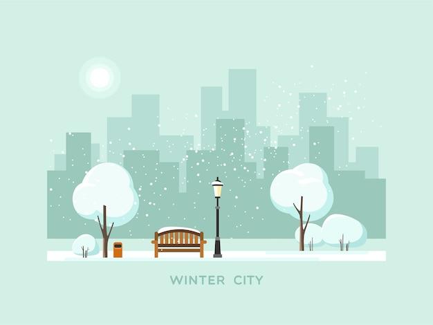 Зимний парк в городе.
