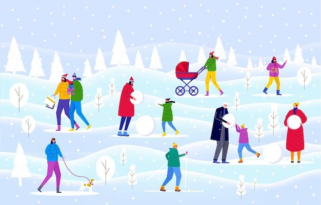 겨울 공원, 부모는 아이들과 함께 산책하고 야외에서 즐거운 시간을 보냅니다. 사람들은 숲에서 눈사람과 썰매를 만듭니다. 초대 카드, 전단지 디자인, 엽서, 휴일 배경 벡터 템플릿