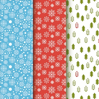 Winter pattern collection. snowflakes and christmas trees