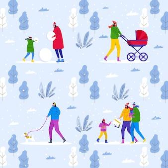 겨울 패턴, 부모는 아이들과 함께 공원에서 산책하고 야외에서 즐거운 시간을 보냅니다. 사람들은 눈사람과 숲을 만듭니다. 섬유, 인쇄, 전단지 디자인, 엽서, 휴일 배경 벡터 템플릿