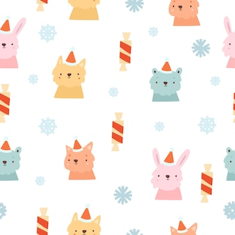 Winter pattern with animal portraits