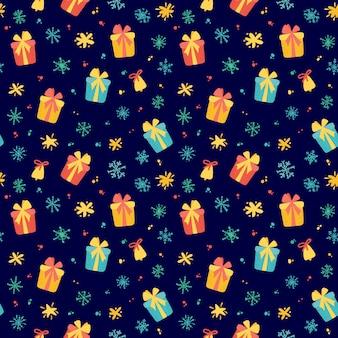 かわいいギフトと冬の休日の要素を持つ冬パターン。手描きのスタイル。ベクトルイラスト