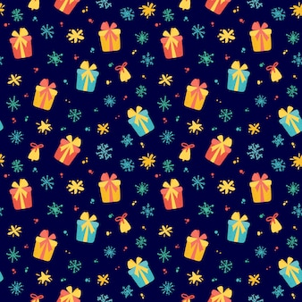 Winter pattern with cute gifts and winter holidays elements. hand drawn style. vector illustration