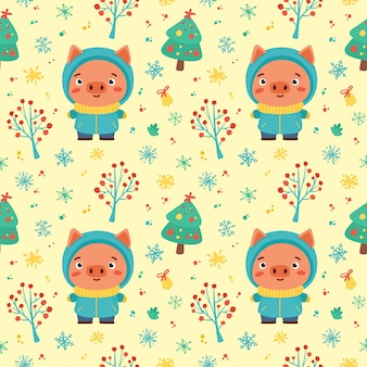 Winter pattern with cute piglet and winter holidays elements. hand drawn style. vector illustration