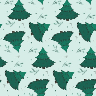 Winter pattern with fir branches and snowflakes