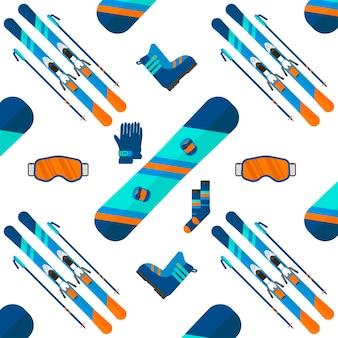 スポーツアイコンコレクションと冬のパターン。フラットスタイルのデザインで白い背景に設定されたスキーとスノーボード。スキーリゾートの写真、山の活動、ベクトルイラストの要素。