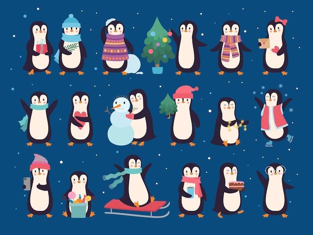 겨울 펭귄. 귀여운 야생 아기 캐릭터 북극 동물 펭귄 스웨터와 스카프 벡터 세트. 남극 펭귄 야생 동물, 12월 휴일 그림