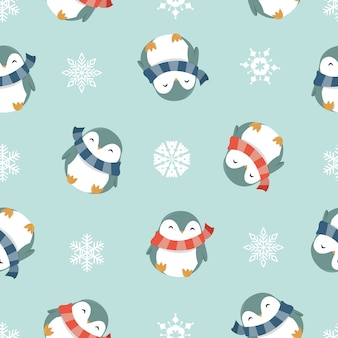 Winter penguins seamless pattern