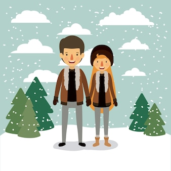 Winter people background with couple